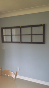 Wall decor, old glass door with brass hinges