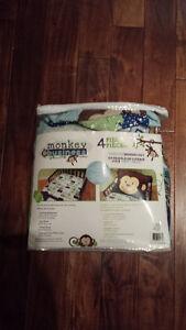4 Piece Monkey Business Toddler Bedding Set