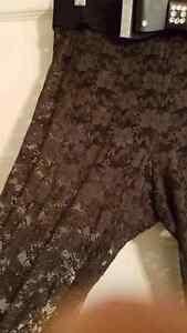 Sheer black lace pants with belt