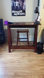 Modern writing desk with stool