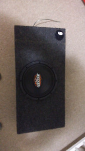 "10"" kicker sub in truck box with Rockford amp"