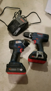 Bosch 18v cordless impact driver, drill and charger