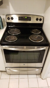 "GE stainless steel 30"" free standing stainless stove range oven"