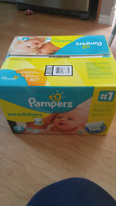 Unopened size 2 pampers swaddlers