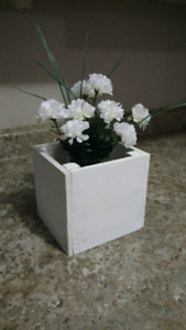 Rustic wooden box centrepieces