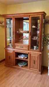 Oak dining table and china cabinet/buffet  OBO