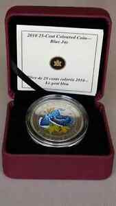2010 25 cent coloured blue jay coin.