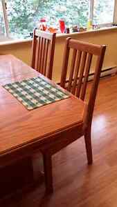 Oak table,chairs,china cabinet/buffet  OBO