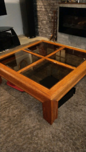 solid oak coffee table with glass top $80.00
