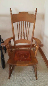 BEAUTIFUL Antique Rocker with hand made leather seat