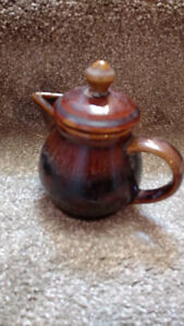 Vintage Brown Stoneware Pitchers, Salt & Pepper, Oil, Vinegar