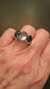 Sterling  ring. With sapphire and aquamarine look stone.