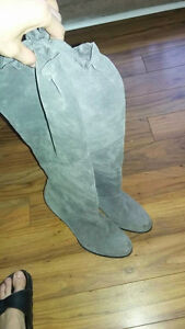 Gray suede Michael Kors tall boots