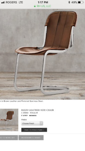 Leather restoration hardware dining chair