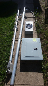 Electrical panel, meter box, mast