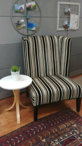 Black and cream striped winged back accent side chair