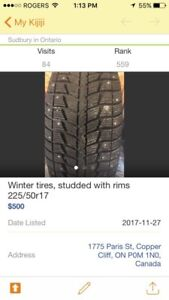 Winter tires, studded on rims 225/50r17