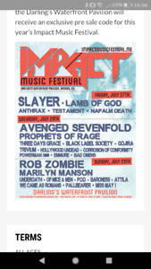 2 tickets for Impact music festival july 27-28-29 in Bangor