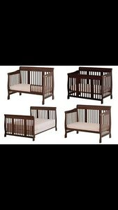 Convertible espresso color crib with near new mattress