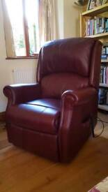 Leather rise and recline arm chair