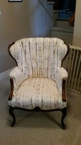Vintage Upholstered Channel Back Arm Chair