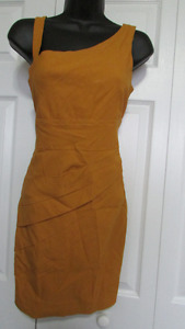 Gold Colored Dress Asymmetrical Pleating-Great for Valentine's