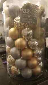 Christmas ornaments silver and gold