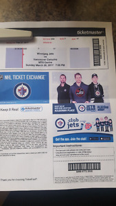2 Jets tickets vs Vancouver ( LOWER BOWL)