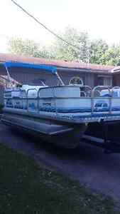 USED PONTOON BOAT 2002 SUNPARTY 20'-40-4ST, ENCLOSURE!