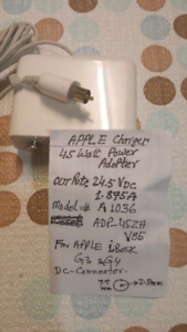 GENUINE/OEM APPLE A1036 G3/G4 iBook Laptop.45W Charger/Power Ad