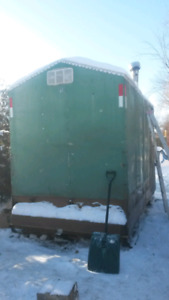 6'5 x11 ice hut with bunks and woodstove