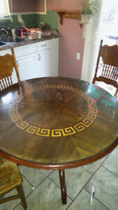 Round Wood Inlay Dining Table