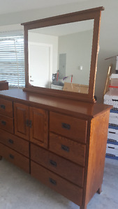 Solid Oak Mission Style Mule Chest dresser and night table