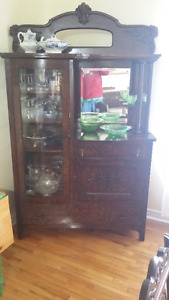 antique curved glass door display cabinet