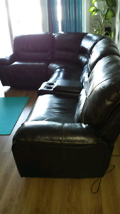 Genuine Brown Leather Reclining Sofa