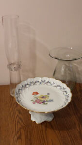 Limoges France Cake Plate Stand and Glass Vases