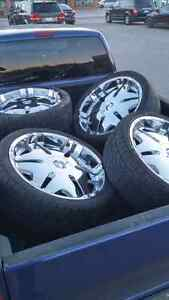 """22"""" Player Rims With Tires (2 New) Windsor Region Ontario image 1"""