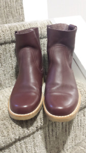 Roots burgundy leather boots, $100, size 8