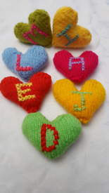 Handmade knit hearts personalized with initial of your choice