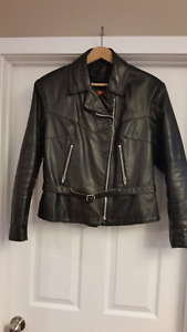 Classic Style Ladies Leather Bike Jacket - Vintage Size Large