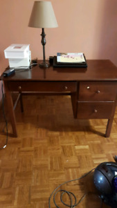 Beautiful brown desk and matching wood chair