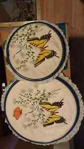 Selling 2 butterfly round picture needle point