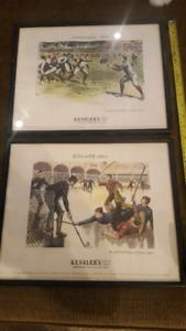 KESSLERS'S WHISKEY - HOCKEY / FOOTBALL FRAMED ADVERTISING