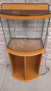 30 gallon Bow front tank with stand and accessories