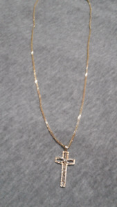 """21"""" solid gold cuban link chain with cross"""