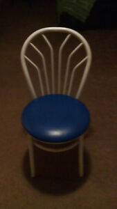 9 blue and white chairs