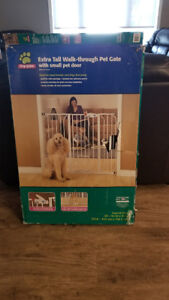 Extra Tall Dog Gate with Cat Door