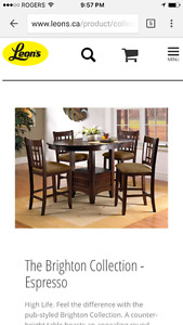 Bar style dining room table set