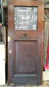 "Solid Wood Antique Exterior Door - 33 3/4"" x 81"" - $500"