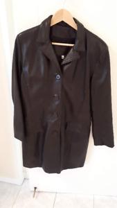 Manteau en cuir d'agneau noir pour femme - Medium
